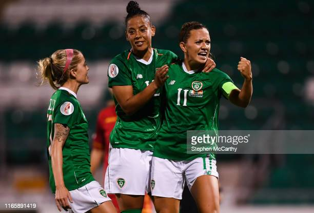 Dublin Ireland 3 September 2019 Katie McCabe of Republic of Ireland celebrates after scoring her side's second goal a penalty with teammates Rianna...