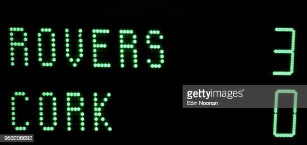 Dublin Ireland 30 April 2018 A general view of the scoreboard following the SSE Airtricity League Premier Division match between Shamrock Rovers and...