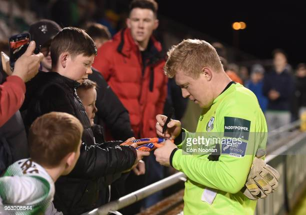 Dublin Ireland 30 April 2018 Kevin Horgan of Shamrock Rovers signs an autopgraph for a supporter following the SSE Airtricity League Premier Division...