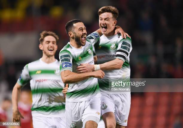 Dublin Ireland 30 April 2018 Roberto Lopes centre of Shamrock Rovers celebrates with teammate Ronan Finn after scoring his side's third goal during...