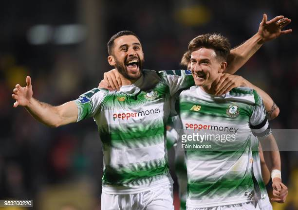 Dublin Ireland 30 April 2018 Roberto Lopes left of Shamrock Rovers celebrates with teammate Ronan Finn after scoring his side's third goal during the...