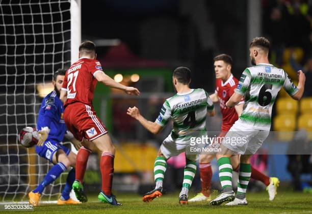 Dublin Ireland 30 April 2018 Roberto Lopes of Shamrock Rovers scores his side's third goal during the SSE Airtricity League Premier Division match...