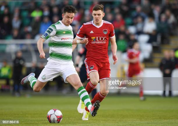 Dublin Ireland 30 April 2018 Ronan Finn of Shamrock Rovers in action against Garry Buckley of Cork City during the SSE Airtricity League Premier...