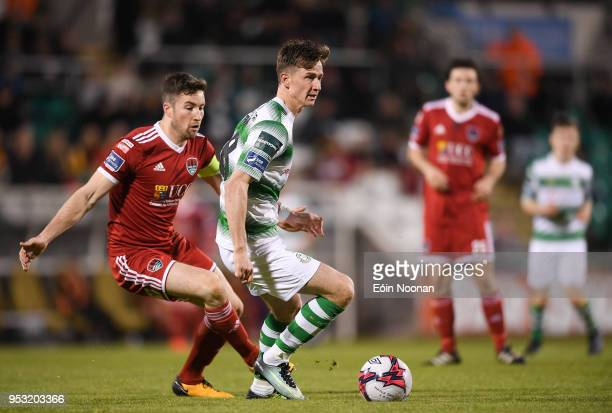 Dublin Ireland 30 April 2018 Ronan Finn of Shamrock Rovers in action against Gearóid Morrissey of Cork City during the SSE Airtricity League Premier...