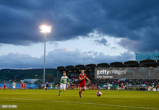 Dublin Ireland 30 April 2018 Sean McLoughlin of Cork City in action against Gary Shaw of Shamrock Rovers during the SSE Airtricity League Premier...