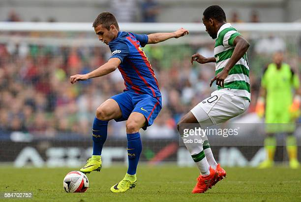 Dublin Ireland 30 July 2016 Alex Carbonell of Barcelona in action against Moussa Dembélé of Glasgow Celtic during the International Champions Cup...
