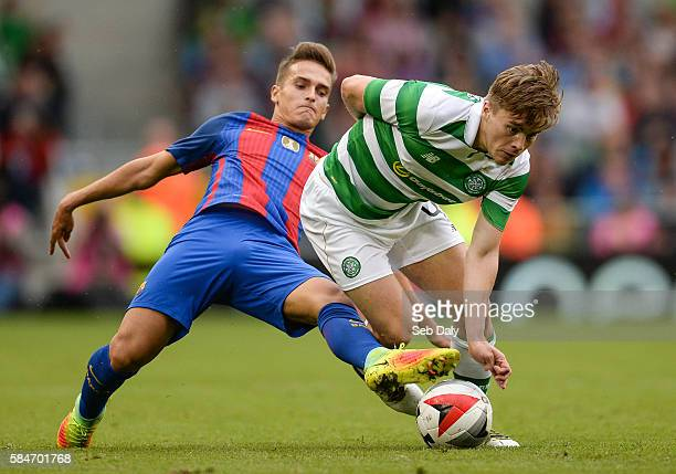 Dublin Ireland 30 July 2016 James Forrest of Glasgow Celtic in action against Denis Suarez of Barcelona during the International Champions Cup match...