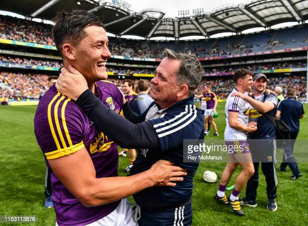 Dublin , Ireland - 30 June 2019; Wexford manager Davy Fitzgerald is congratulated by Lee Chin after the Leinster GAA Hurling Senior Championship...