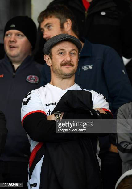 Dublin Ireland 30 September 2018 Comedian actor and radio presenter PJ Gallagher during the Irish Daily Mail FAI Cup SemiFinal match between...
