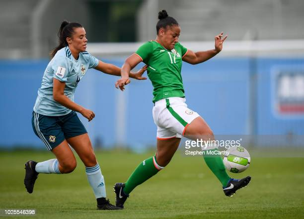 Dublin Ireland 31 August 2018 Rianna Jarrett of Republic of Ireland in action against Laura Rafferty of Northern Ireland during the 2019 FIFA Women's...