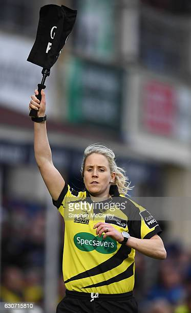 Dublin Ireland 31 December 2016 Touch judge Joy Neville during the Guinness PRO12 Round 12 match between Leinster and Ulster at the RDS Arena in...