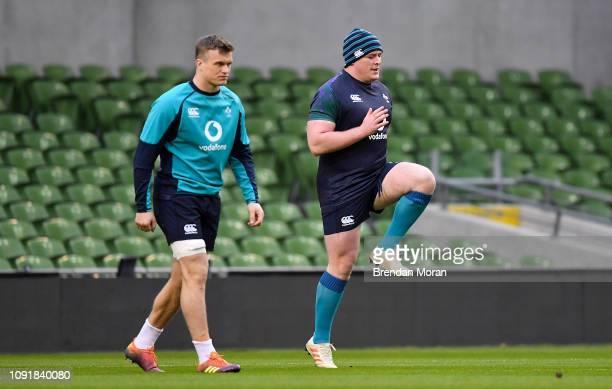 Dublin Ireland 31 January 2019 Josh van der Flier left and Tadhg Furlong during Ireland rugby squad training at Aviva Stadium Dublin