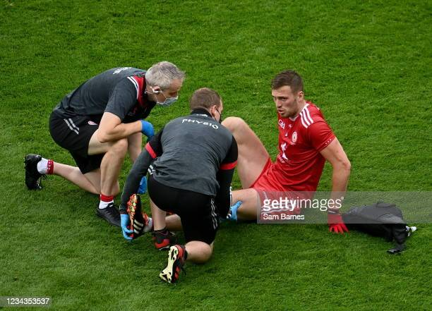 Dublin , Ireland - 31 July 2021; Brian Kennedy of Tyrone receives medical attention during the Ulster GAA Football Senior Championship Final match...