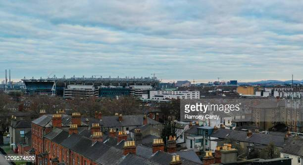 Dublin , Ireland - 31 March 2020; A general view of the streets of Drumcondra in Dublin, and Croke Park Stadium.