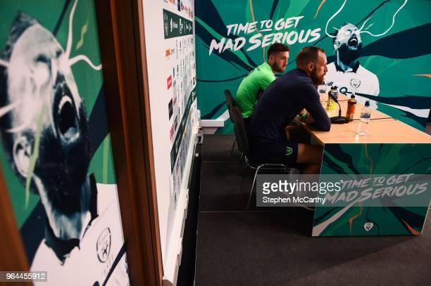 Dublin Ireland 31 May 2018 David Meyler and Matt Doherty during a Republic of Ireland press conference at the FAI National Training Centre in...