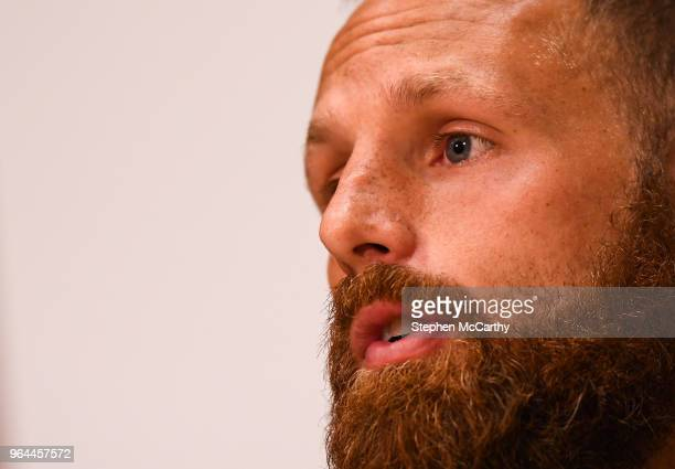 Dublin Ireland 31 May 2018 David Meyler during a Republic of Ireland press conference at the FAI National Training Centre in Abbotstown Dublin