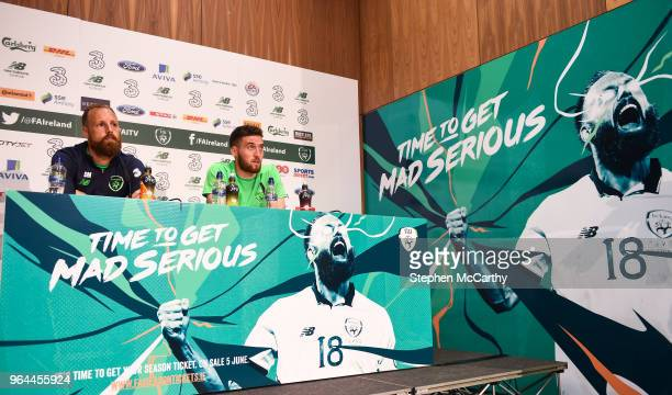 Dublin Ireland 31 May 2018 David Meyler left and Matt Doherty during a Republic of Ireland press conference at the FAI National Training Centre in...
