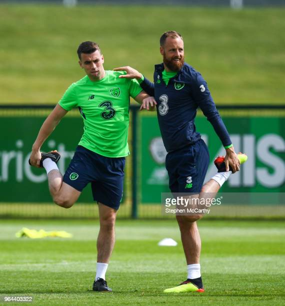 Dublin Ireland 31 May 2018 David Meyler right and Seamus Coleman during a Republic of Ireland training session at the FAI National Training Centre in...