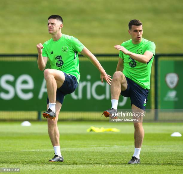 Dublin Ireland 31 May 2018 Declan Rice left and Seamus Coleman during a Republic of Ireland training session at the FAI National Training Centre in...
