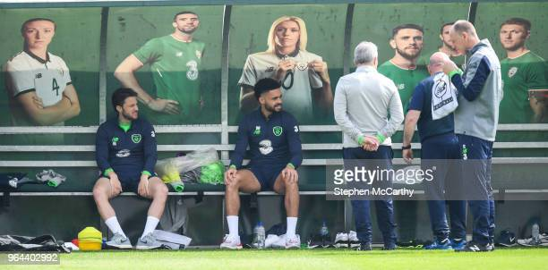 Dublin Ireland 31 May 2018 Derrick Williams and Harry Arter left during a Republic of Ireland training session at the FAI National Training Centre in...
