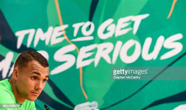 Dublin Ireland 31 May 2018 Graham Burke during a Republic of Ireland press conference at the FAI National Training Centre in Abbotstown Dublin
