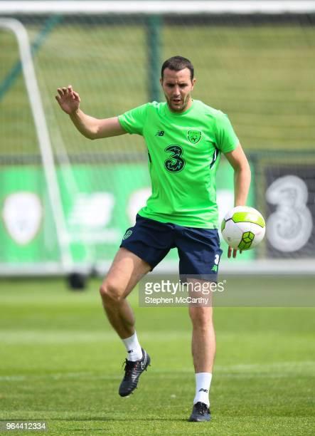 Dublin Ireland 31 May 2018 John O'Shea during a Republic of Ireland training session at the FAI National Training Centre in Abbotstown Dublin