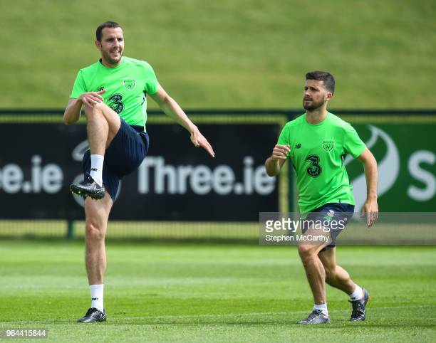 Dublin Ireland 31 May 2018 John O'Shea left and Shane Long during a Republic of Ireland training session at the FAI National Training Centre in...