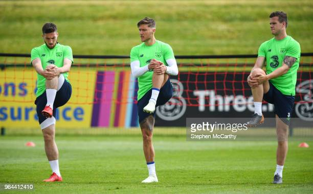 Dublin Ireland 31 May 2018 Matt Doherty left Jeff Hendrick and Kevin Long right during a Republic of Ireland training session at the FAI National...