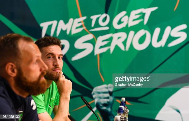 Dublin Ireland 31 May 2018 Matt Doherty right and David Meyler during a Republic of Ireland press conference at the FAI National Training Centre in...