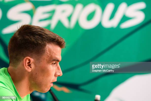 Dublin Ireland 31 May 2018 Seamus Coleman during a Republic of Ireland press conference at the FAI National Training Centre in Abbotstown Dublin