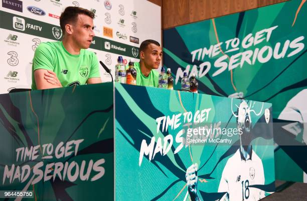 Dublin Ireland 31 May 2018 Seamus Coleman left and Graham Burke during a Republic of Ireland press conference at the FAI National Training Centre in...