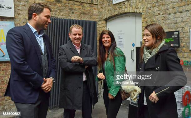 Dublin Ireland 31 October 2017 WBA World Lightweight Champion Katie Taylor right and her mother Bridget with promoter Eddie Hearn left and manager...
