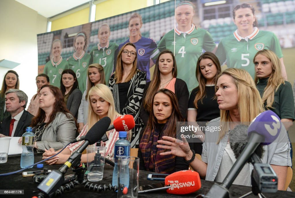 Dublin , Ireland - 4 April 2017; Republic of Ireland Women's National Team captain Emma Byrne speaks alongside Aine O'Gorman, Stephanie Roche, representatives and other team-mates during a women's national team press conference at Liberty Hall in Dublin.