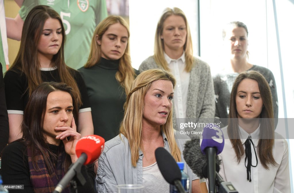 Dublin , Ireland - 4 April 2017; Republic of Ireland Women's National Team captain Emma Byrne, centre, speaks alongside Aine O'Gorman, left, Karen Duggan, right, and other team-mates during a women's national team press conference at Liberty Hall in Dublin.