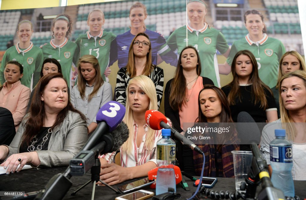Dublin , Ireland - 4 April 2017; Stephanie Roche, centre, of the Republic of Ireland Women's National Team speaks alongside team-mates, seated from left, captain Emma Byrne, Aine O'Gorman, and Ethel Buckley, left, SIPTU Services Division, during a women's national team press conference at Liberty Hall in Dublin.