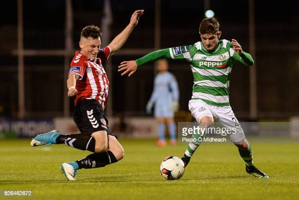 Dublin Ireland 4 August 2017 Trevor Clarke of Shamrock Rovers in action against Connor McDermott of Derry City during the SSE Airtricity League...
