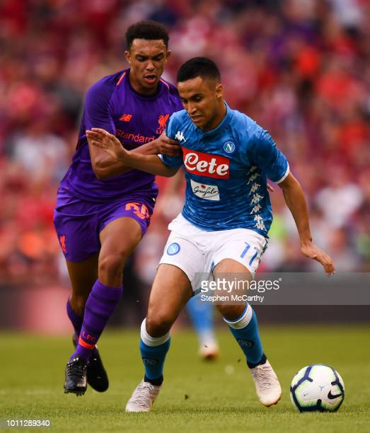 Dublin Ireland 4 August 2018 Adam Ounas of Napoli and Trent AlexanderArnold of Liverpool during the Pre Season Friendly match between Liverpool and...