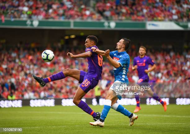 Dublin Ireland 4 August 2018 Trent AlexanderArnold of Liverpool in action against Mario Rui of Napoli during the Pre Season Friendly match between...