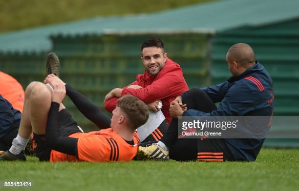 Dublin Ireland 4 December 2017 Conor Murray and Simon Zebo in conversation during Munster Rugby squad training at the University of Limerick in...