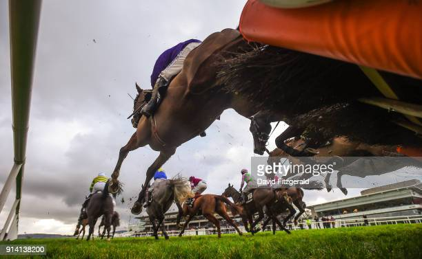 Dublin Ireland 4 February 2018 Runners and riders clear the last on their first time round the Deloitte Novice Hurdle during Day 2 of the Dublin...