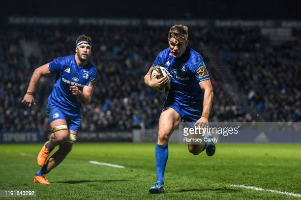 Dublin Ireland 4 January 2020 Garry Ringrose of Leinster runs in to score his side's eighth try during the Guinness PRO14 Round 10 match between...