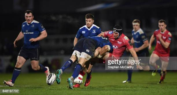 Dublin Ireland 4 March 2017 DTH van der Merwe of Scarlets is tackled by Zane Kirchner of Leinster during the Guinness PRO12 Round 17 match between...