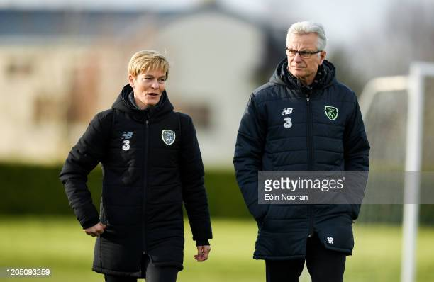 Dublin Ireland 4 March 2020 Republic of Ireland manager Vera Pauw and FAI High Performance Director Ruud Dokter during a Republic of Ireland Women...