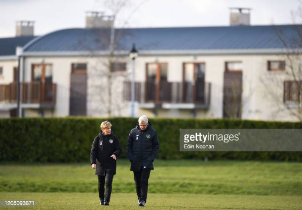 Dublin Ireland 4 March 2020 Republic of Ireland manager Vera Pauw and FAI High Performance Director Ruud Dokter arriving to a Republic of Ireland...