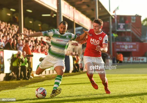 Dublin , Ireland - 4 May 2018; Ethan Boyle of Shamrock Rovers in action against Dean Clarke of St Patrick's Athletic during the SSE Airtricity League...