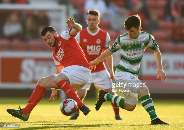 Dublin , Ireland - 4 May 2018; Ryan Brennan of St Patrick's Athletic in action against Aaron Bolger of Shamrock Rovers during the SSE Airtricity...