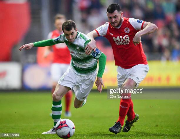 Dublin Ireland 4 May 2018 Sean Kavanagh of Shamrock Rovers in action against Ryan Brennan of St Patrick's Athletic during the SSE Airtricity League...