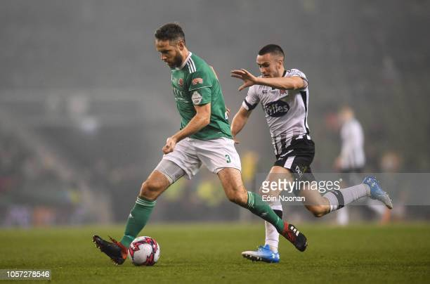 Dublin Ireland 4 November 2018 Alan Bennett of Cork City in action against Patrick McEleney of Dundalk during the Irish Daily Mail FAI Cup Final...