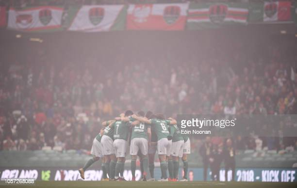 Dublin Ireland 4 November 2018 Cork City players huddle ahead of the Irish Daily Mail FAI Cup Final match between Cork City and Dundalk at the Aviva...