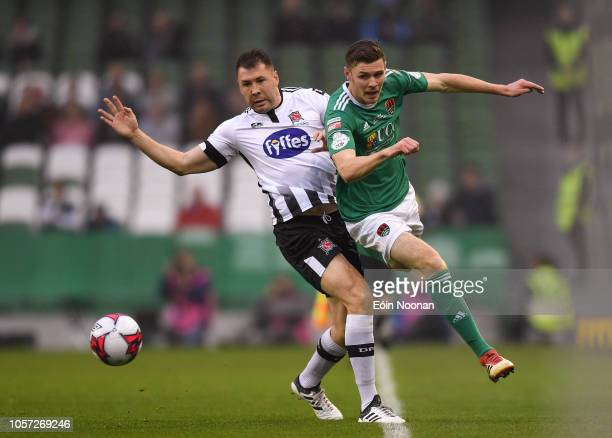 Dublin Ireland 4 November 2018 Garry Buckley of Cork City is tackled by Brian Gartland of Dundalk during the Irish Daily Mail FAI Cup Final match...